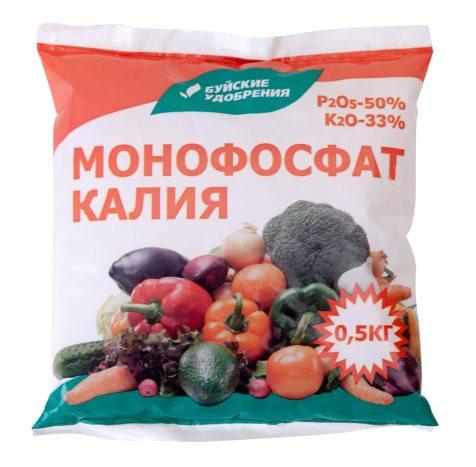 Монофосфат калия в пакете весом в полкилограмма для осенней подкормки плодовых деревьев