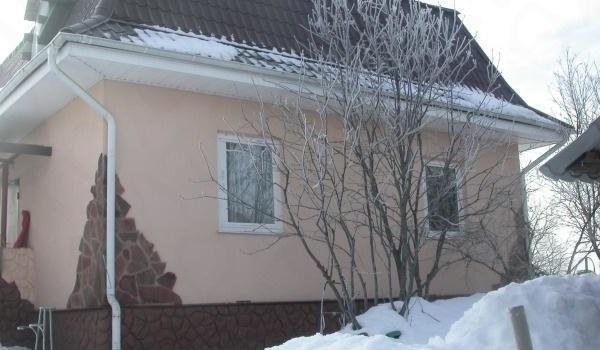 Сливовое дерево с голыми ветками перед дачным домиком в середине зимы