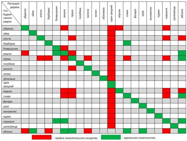 Таблица совместимости различных плодовых растений друг с другом
