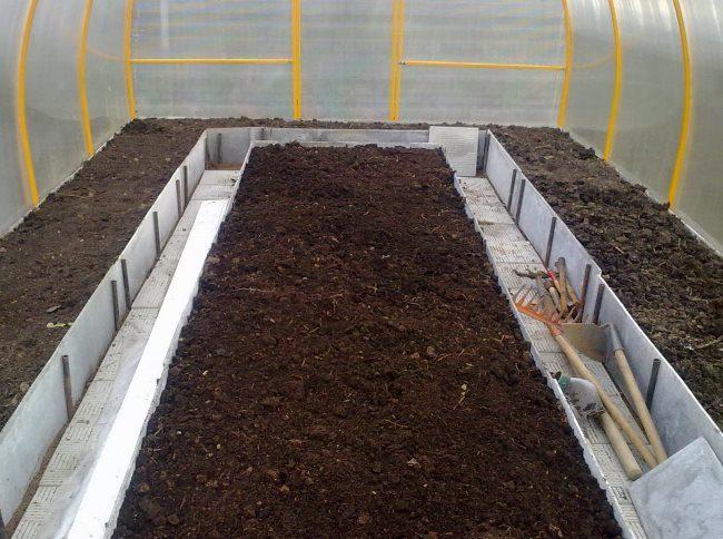 Подготовка грунта для огурцов в теплице на металлическом каркасе из поликарбоната