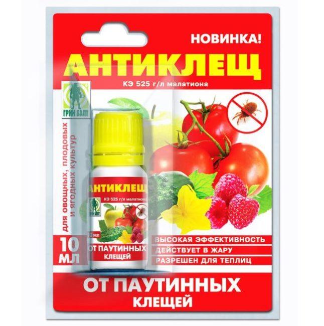 Упаковка с препаратом Антиклещ для обработки посадок огурцов в период активного размножения вредителя
