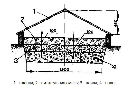 Схема закладки грядки-парника для огурцов с использованием органического материала
