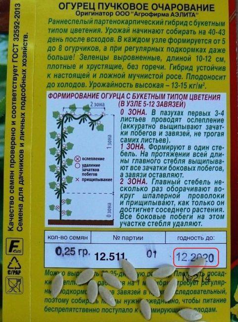 Срок годности на пакетике с семенами огурцов сорта Пучковое Очарование