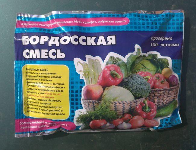 Пакет с компонентами бордоской смеси для опрыскивания огурцов от болезней