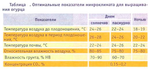 Таблица с основными показателями микроклимата для выращивания огурцов