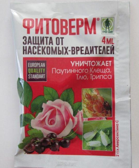 Пакет с ампулой препарата Фитоверм для защиты огурцов от насекомых-вредителей