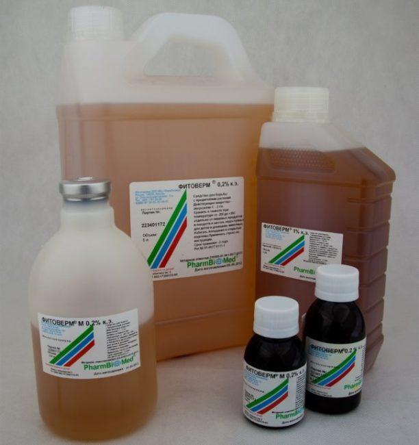 Средство Фитоверм в различных упаковках для использования в личных и промышленных целях