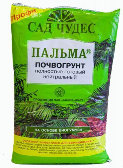 Пакет с посадочным грунтом для пальм на основе биогумуса