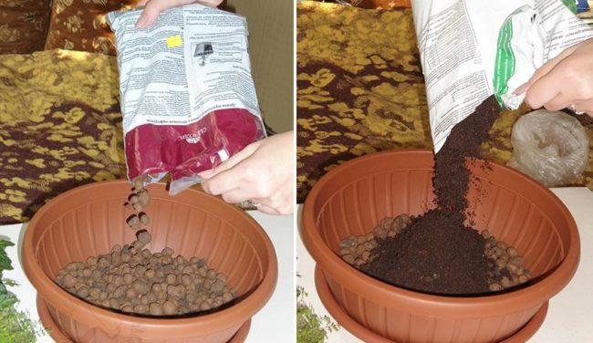 Заполнение цветочного горшка керамзитом и питательным грунтом