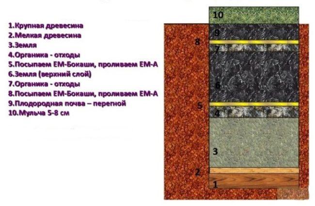 Схема теплой грядки траншейного типа для выращивания огурцов в открытом грунте