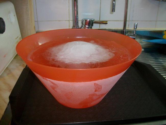 Талая вода в пластиковой ёмкости для полива комнатных растений