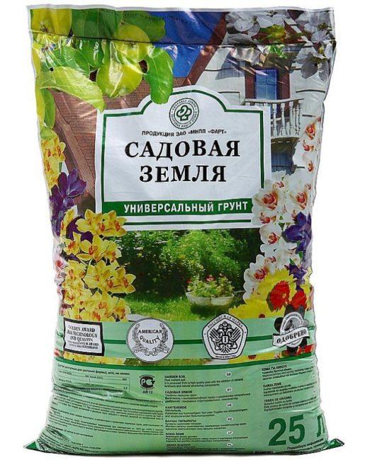 Пакет с садовым грунтом для посадки комнатных растений