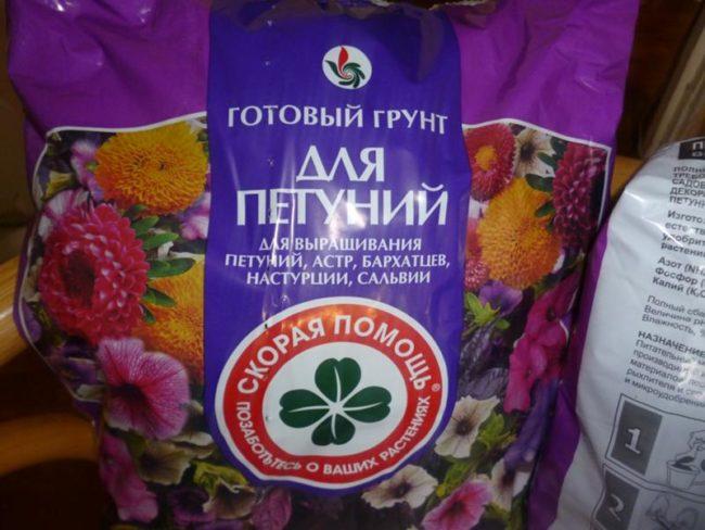 Пакет с готовым грунтом для выращивания петунии в домашних условиях