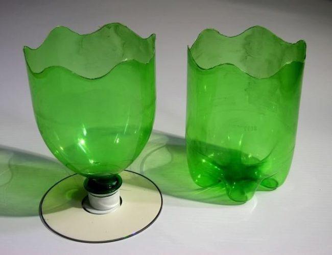 Горшок и кашпо из пластиковой бутылки зеленого цвета