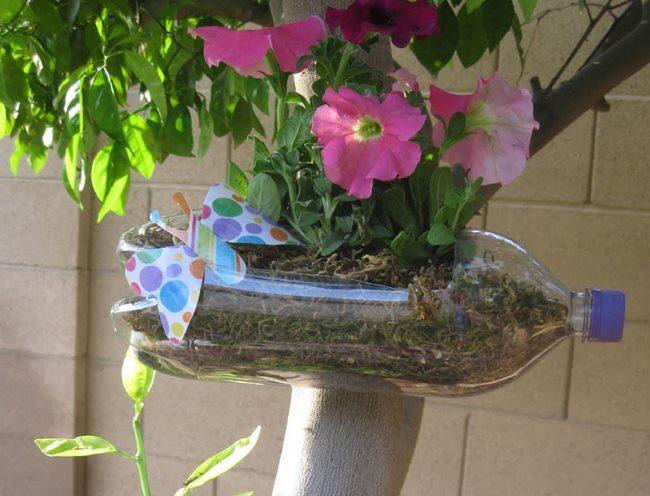 Цветущая петуния в самодельном кашпо из пластиковой бутылки