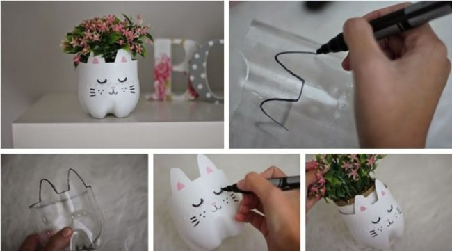 Процесс изготовления кашпо из ластиковой бутылки в картинках