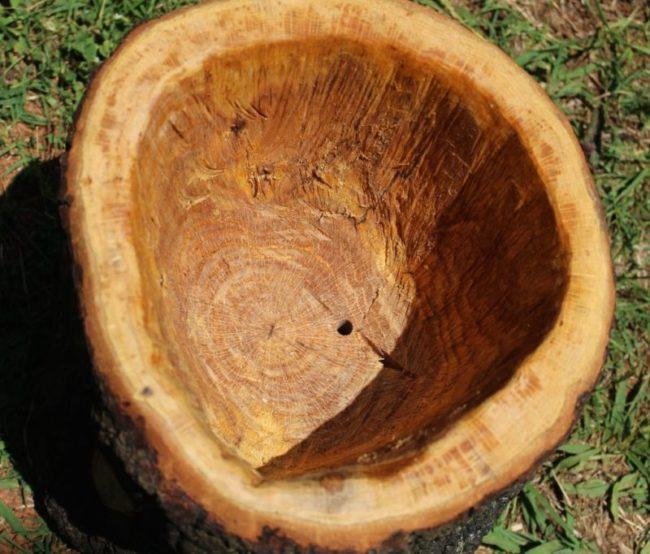 Внутренние поверхности вазона из спила дерева для посадки петунии