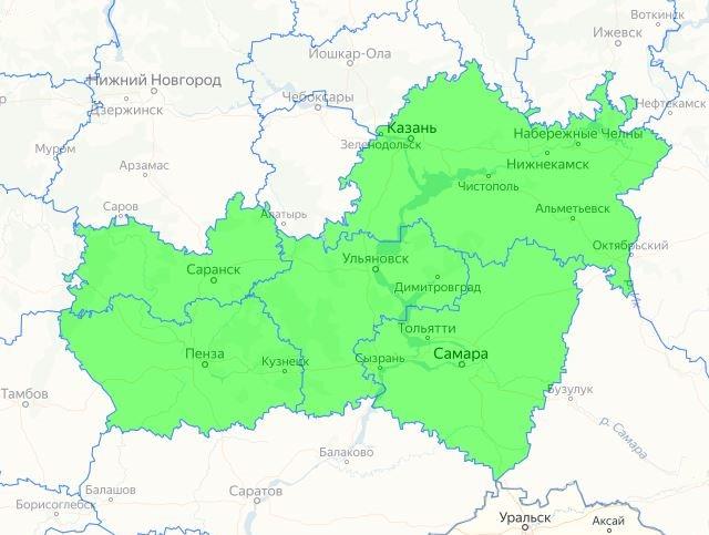 Карта с регионами выращивание вишни сорта Заря Татарии
