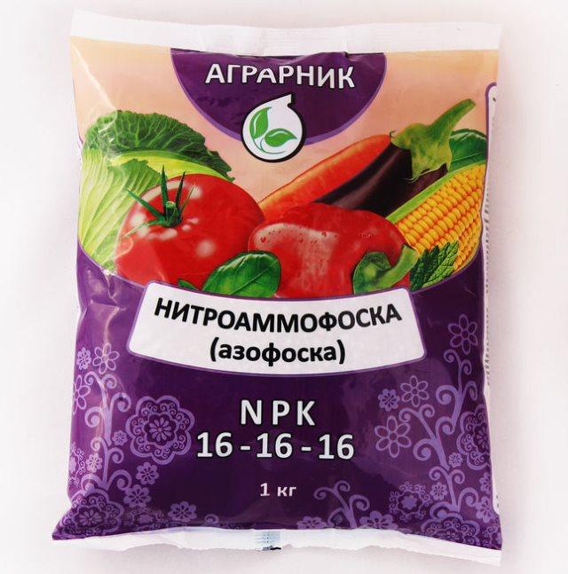 Килограммовый пакет нитроаммофоски для подкормки горького перца в период роста