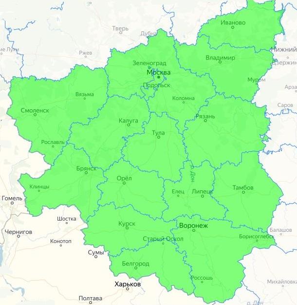 Карта с регионами распространения вишни гибридного сорта Ливенская