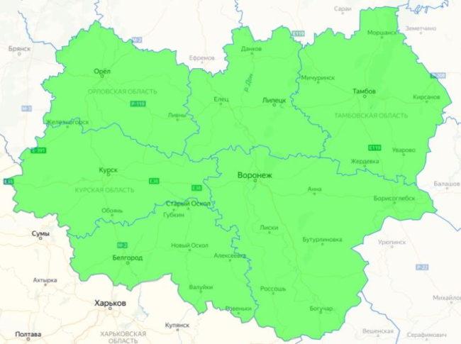 Карта с регионами распространения вишни сорта Хуторянка отечественной селекции