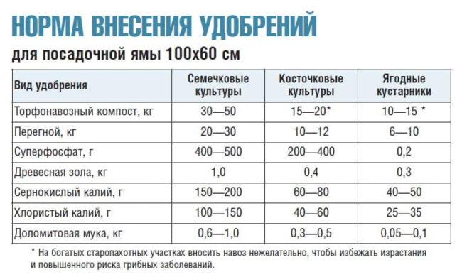 Нормировка удобрений различного типа для посадочных ям косточковых культур и ягодных кустарников