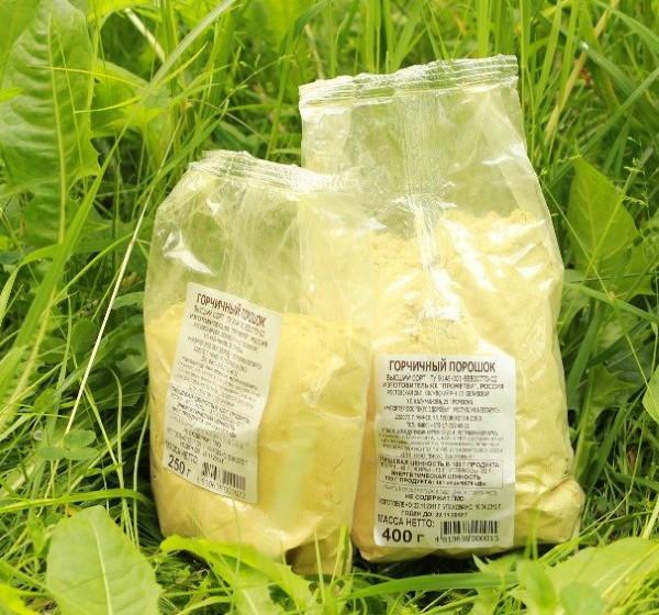 Пакеты с порошком горчицы для использования на садовом участке