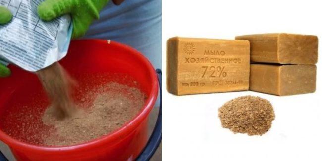 Приготовление настоя табака с мылом для обработки смородины от тли